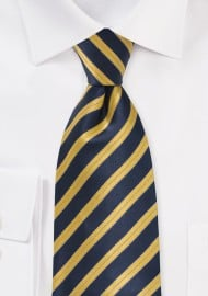 Navy and Yellow Striped Tie