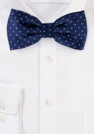 Dark Navy Polka Dot Bow Tie