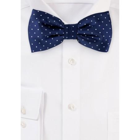 Dark Navy Polka Dot Bow Tie