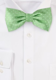 Light Green Polka Dot Bow Tie