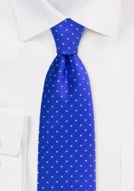 Royal Blue and Silver Polka Dot Tie