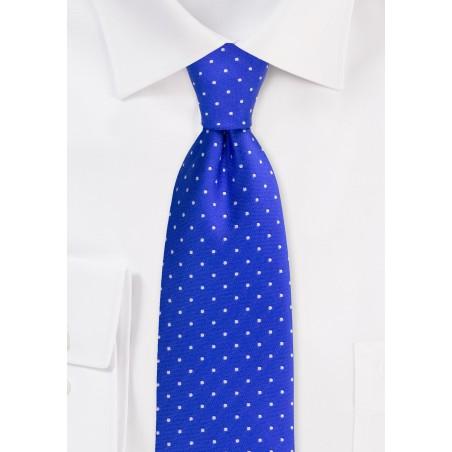 Royal Blue and Silver Polka Dot Tie