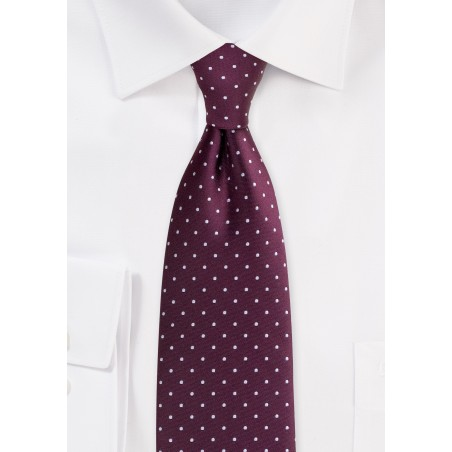 Burgundy Red Tie with Silver Polka Dots