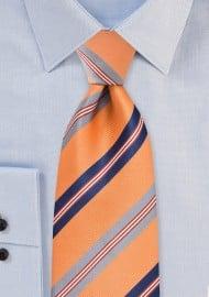 Striped Tie in Orange, Navy, Silver