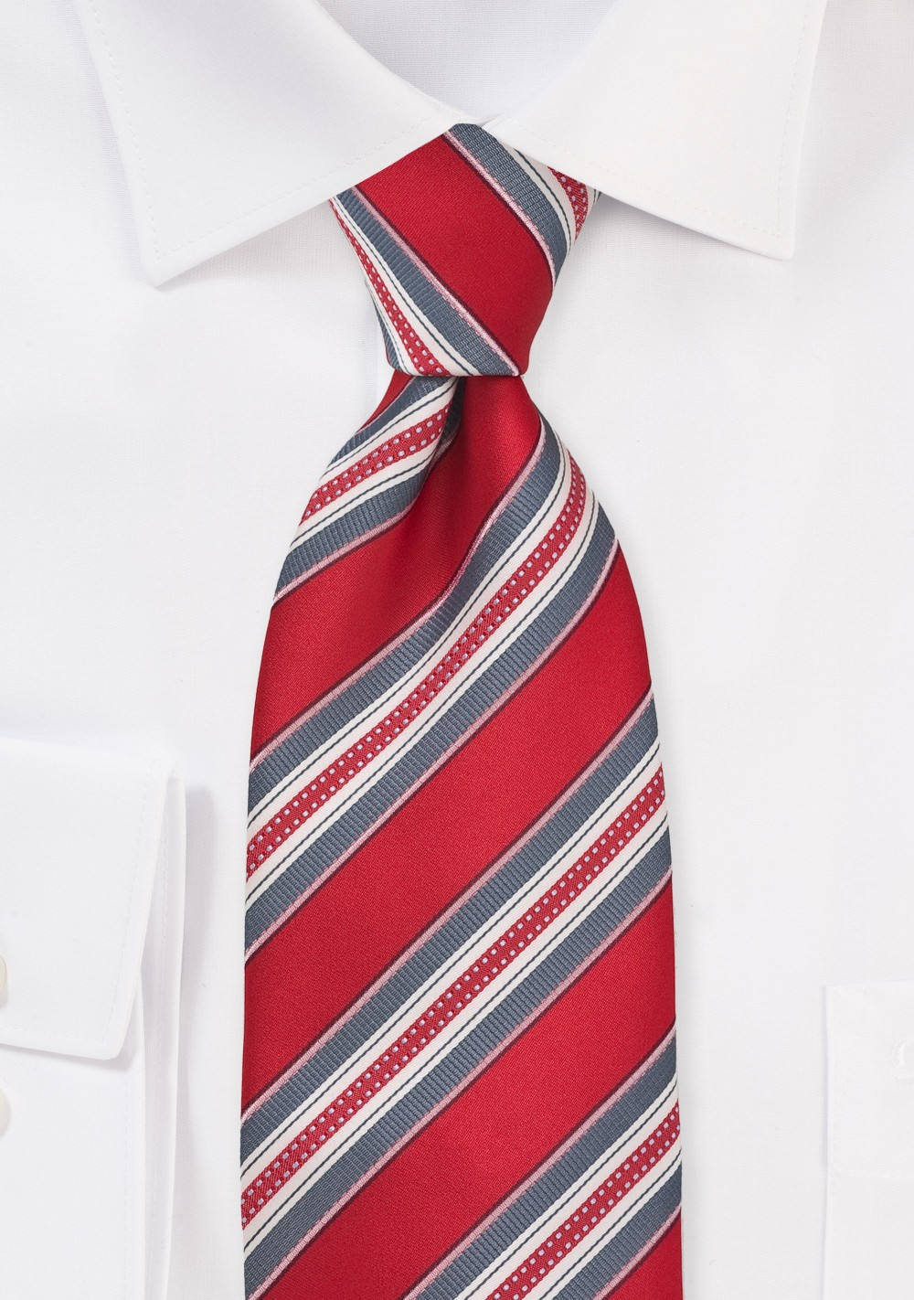 Striped Tie in Red, Grey and Ivory