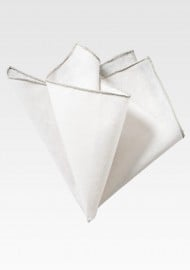 White and Silver Linen Pocket Square