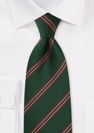 Kids Regimental Striped tie in Dark Green, Red, Gold, and Blue