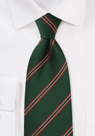 British Regimental Striped tie in Dark Green, Red, Gold, and Blue