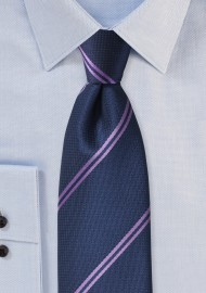 Navy Tie with Lavender Stripes