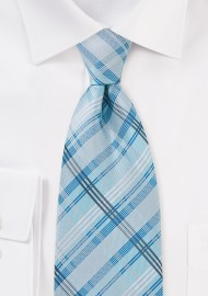Sky Blue Checkered Tie for Kids