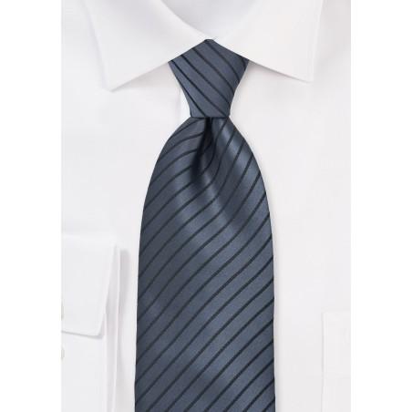 Graphite Tie with Black Stripes