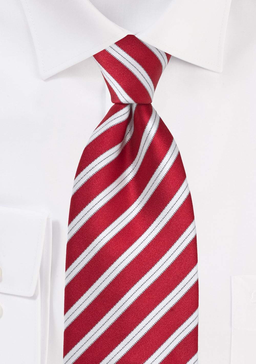 Bright Red Striped Tie
