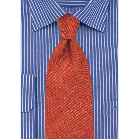 Autumn Orange Textured Silk Tie