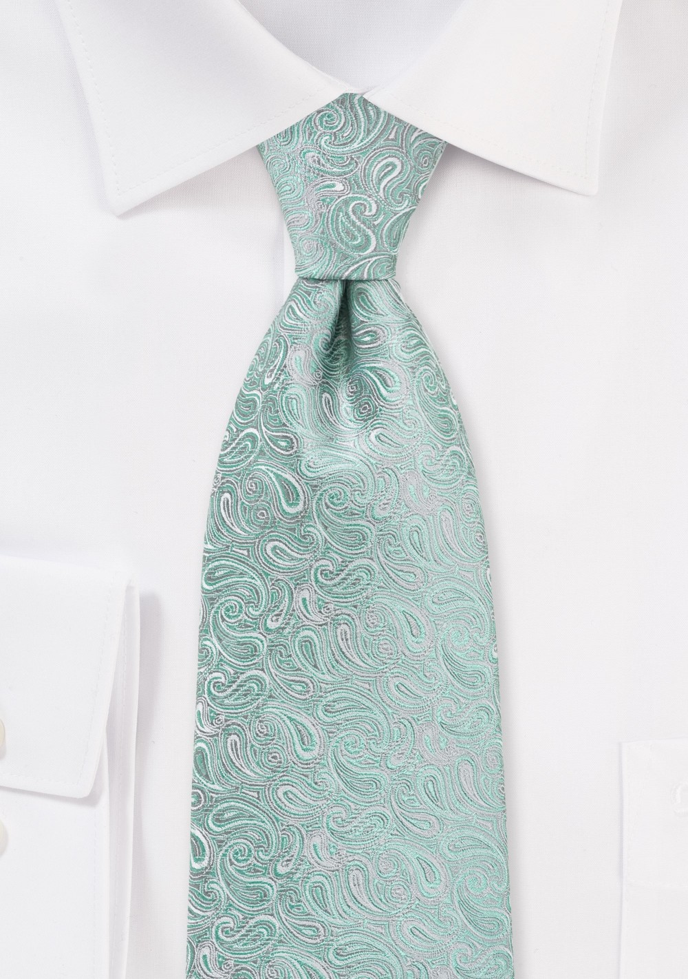 Kid Sized Modern Paisley Tie in Mint and Silver