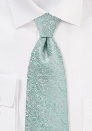 Modern Paisley Tie in Mint and Silver