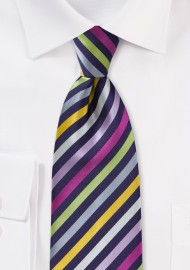 Striped Multi-Colored Tie in XL Length