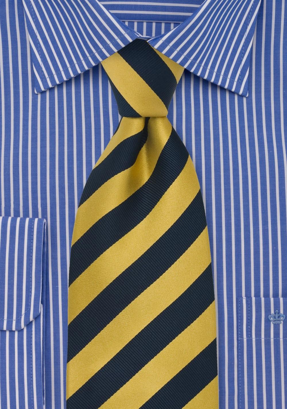 Striped Silk Necktie in Yellow and Navy