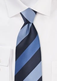 Wide Striped Tie in Blue Tones