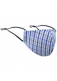 Tattersall Check Face Mask in Blue and White