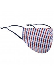 Tattersall Check Face Mask in Red, White, and Blue