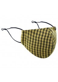 Amber Gold and Navy Plaid Mask