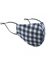 Navy and White Tartan Plaid Mask