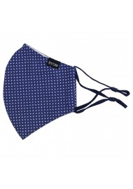 designer fabric face masks by BYOM in navy with star print flat