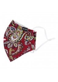 red paisley print face masks in cotton by BYOM