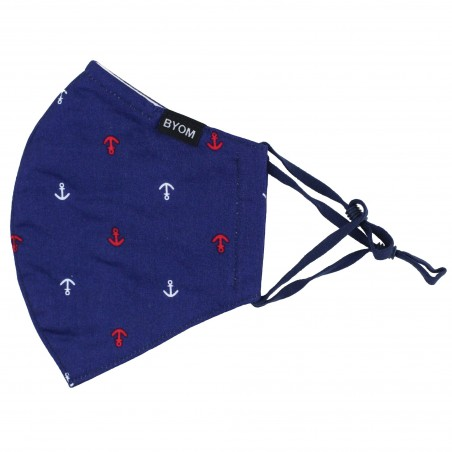 navy dark blue nautical print face mask