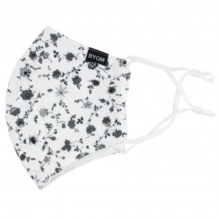 White Cotton Floral Mask with Blue Flowers