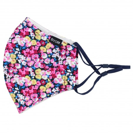 Pink Flower Design Mask in Cotton