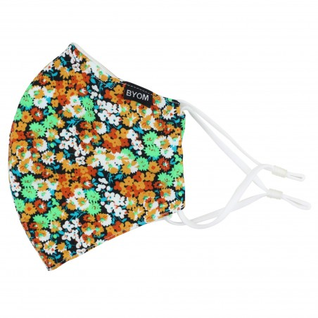 Orange and Mint Floral Cotton Mask