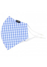 Light Blue Gingham Filter Face Mask