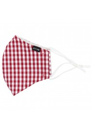 Gingham Check Cotton Mask in Cherry