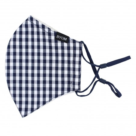 Gingham Check Cotton Mask in Navy