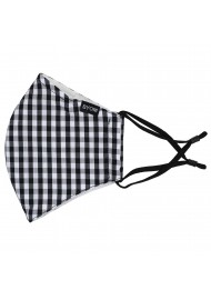 Gingham Check Cotton Mask in Black