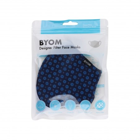 navy blue fabric face masks with filter flat bag