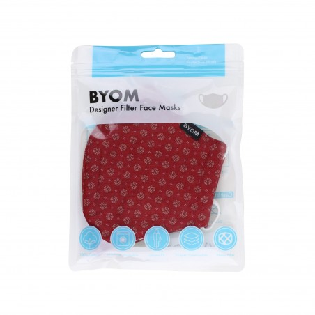 Cherry red fabric face mask with filter flat in bag