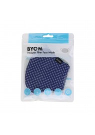 designer fabric face masks by BYOM in navy with star print flat in bag