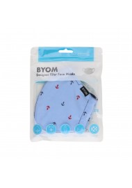 sky blue anchor print face mask in cotton with filter in bag