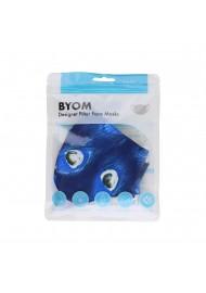 dark blue peacock print face mask in bag