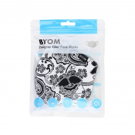 White Filter Mask with Black Floral Paisley in bag