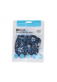 Blue Summer Floral Print Filter Face Mask in Bag