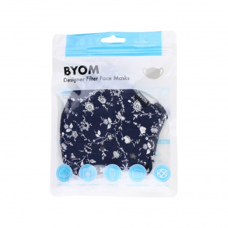 Royal Blue Cotton Filter Face Mask with Flower Design in Bag
