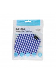 Gingham Check Cotton Mask in Royal in Mask Bag