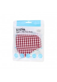 Gingham Check Cotton Mask in Cherry in Mask Bag
