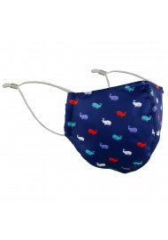 whale print face mask in dark blue