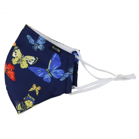 pretty dark blue butterfly print face mask