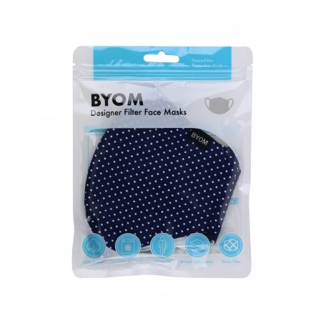 Navy and White Pin Dot Print Face Mask in Bag