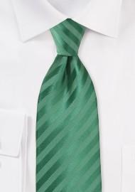 Pine Green Hued Kids Tie with Subtle Stripes